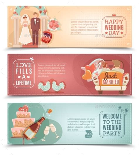 Wedding Banner Set wedding concept flat banners set by macrovector graphicriver