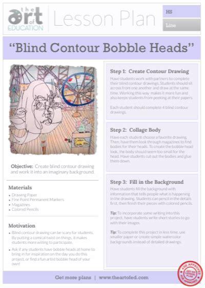 doodle lesson plan blind contour bobble drawings free lesson plan