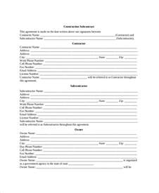 construction subcontractor agreement template sle construction contractor agreement 7 documents in
