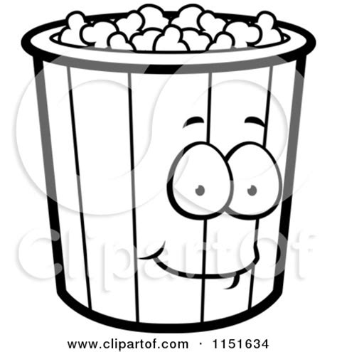 popcorn coloring pages preschool 1151634 cartoon clipart of a black and white popcorn