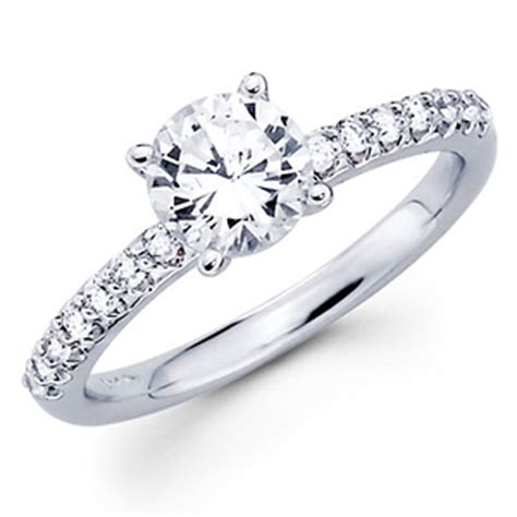 pave 14k white gold engagement ring