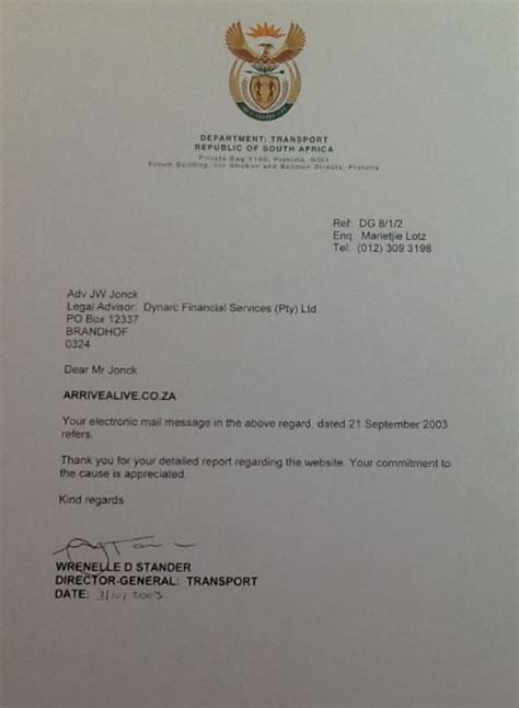 Commitment Letter For Ngo arrive alive co za reflects on a decade of road safety