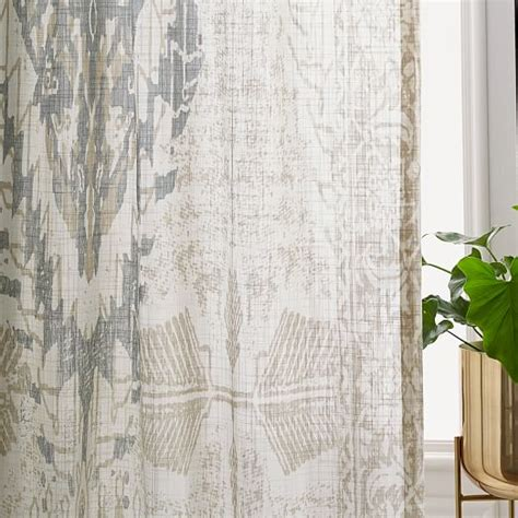 sheer curtains under drapes sheer cotton distressed medallion curtains set of 2