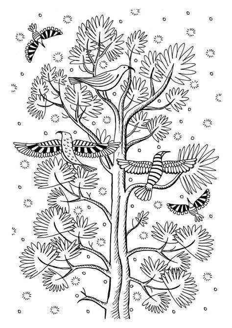 Pássaros Voando Pela Árvore – Desenhos para Colorir
