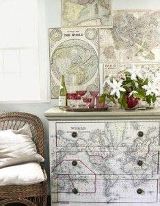 Decoupage Maps On Furniture - decoupage furniture craft ideas