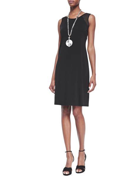 I Jersey Dresses by Eileen Fisher Sleeveless Silk Jersey Dress In Black Lyst