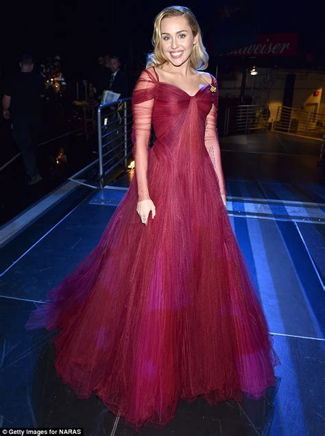 Mily Dress miley cyrus dons ruby princess gown at the grammys