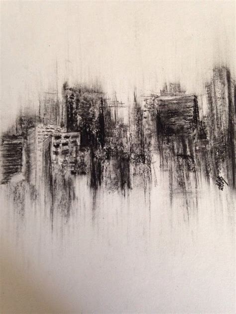 Drawing With Charcoal by Fading City Original Charcoal Drawing Landscape