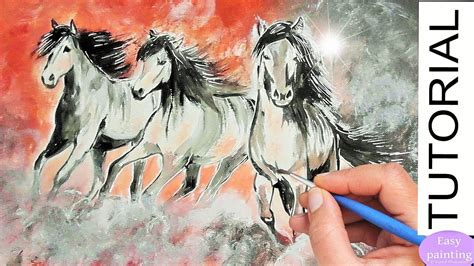 watercolor horse tutorial running horses painting tutorial how to paint horse step