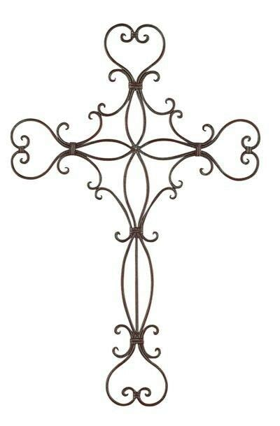 iron metal heart wall cross garden rustic unique scroll