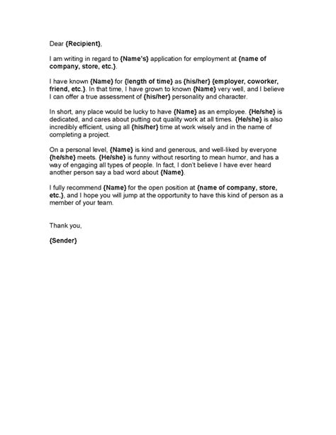 Letter Of Recommendation Sle For Employee sle resume character reference 28 images exles of