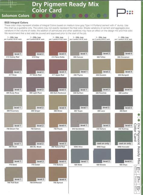 Solomon Color Chart