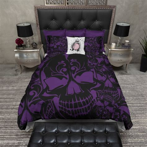 King Size Black Duvet Cover Purple And Black Collage Skull Bedding Ink And Rags