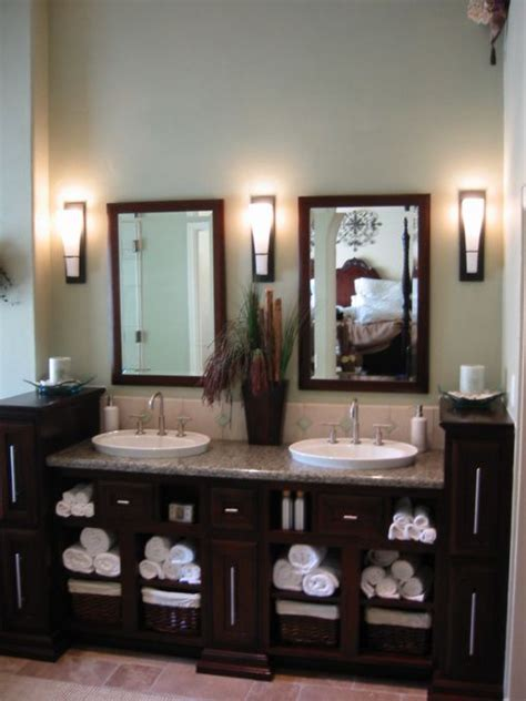 master bathroom mirrors master bath i like the openness and dark cabinetry and