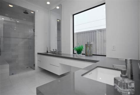 Charming Minimalist Office Interior Design #5: Gray-countertop-gives-this-master-bathroom-a-unique-appeal.jpg