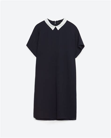 Collar Zara Dress zara cut dress with collar in black lyst