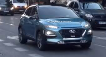 hyundai kona suv blue spied front during tvc shoot in