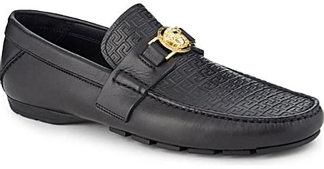 versace mens sneakers versace greco medusa leather driving shoes in black for