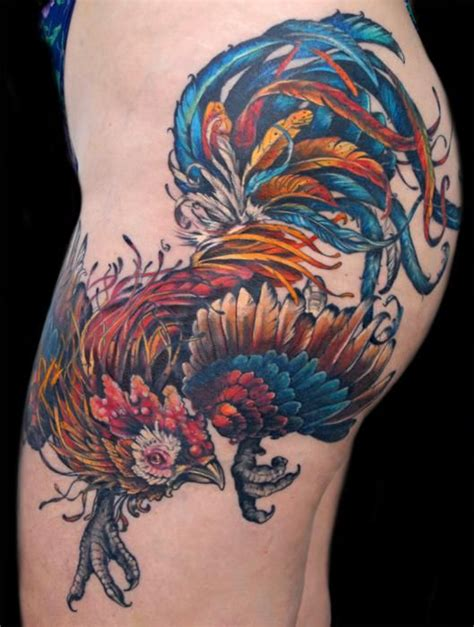 Rooster Tattoo Pinterest | colored rooster tattoo on side thigh tattoo ideas