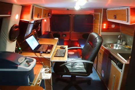 mans diy stealth camper van   mobile office