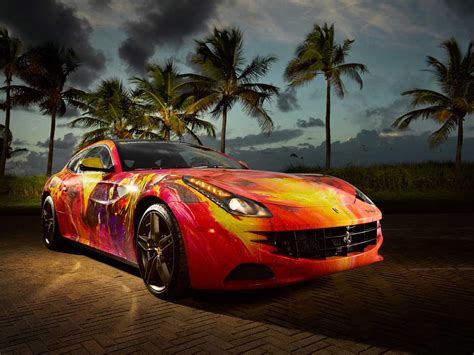 ferrari painting artist turns ferrari ff into a painting on wheels