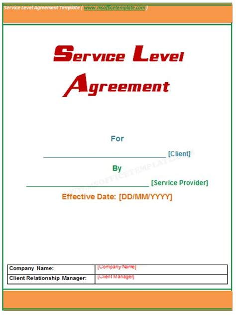 service level agreements templates microsoft word templates