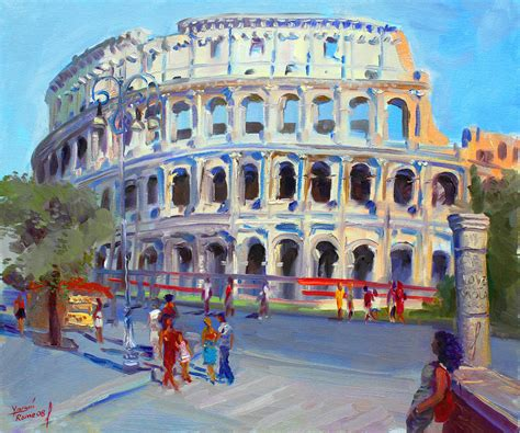 Home Decor Throw Pillows rome colosseum painting by ylli haruni