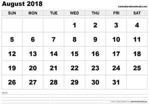 Calendar 2018 Printable Template August 2018 Printable Calendar Blank Calendar Templates