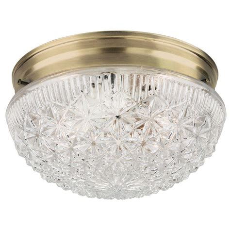 Flush Glass Ceiling Light Westinghouse 2 Light Ceiling Fixture Antique Brass Interior Flush Mount With Clear Faceted Glass