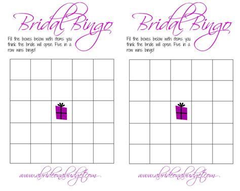 Blank Bingo Card Template For Bridal Shower by Bridal Bingo Template Cyberuse