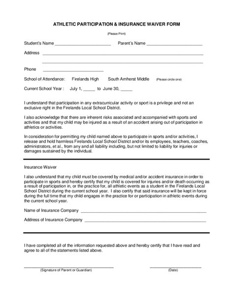 sports liability waiver form template athletic waiver form ohio free