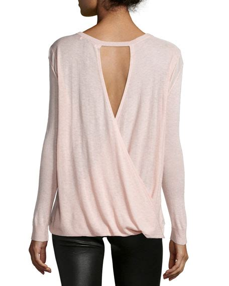 drape back sweater halston heritage long sleeve drape back sweater powder