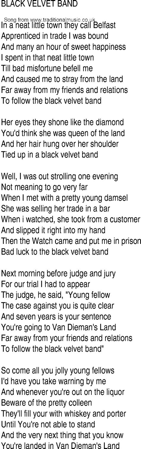black velvet lyrics irish music song and ballad lyrics for black velvet band