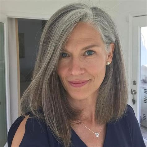 medium length hair cuts for salt and pepper hair 63 stunning long gray hairstyles ideas for women over 50