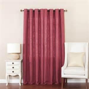 burgundy solid heavy faux linen grommet curtain pair 104 x