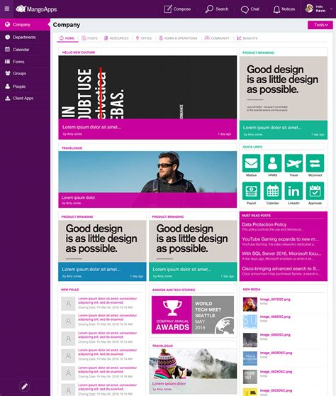 Intranet Design Branding Service Mangoapps Intranet Page Template