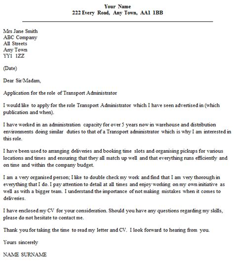 Bo Administration Cover Letter by Transport Administrator Cover Letter Exle Icover Org Uk