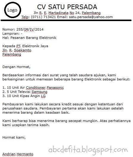 Contoh Surat Pemesanan Jasa by Surat Pemesanan Write And Imagine