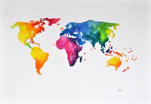 Colorful World Map original abstract world map watercolor painting colorful