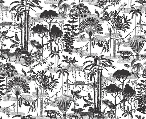 jungle pattern black and white jungle dream wallpaper in charcoal design by aimee wilder