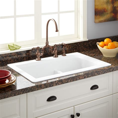 Drop In Kitchen Sinks 33 Quot Fayette Bowl Drop In Granite Composite Sink Eggshell White Kitchen