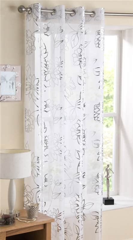 Silver Foil Printed Eyelet Voile Curtain Panel Mayfair