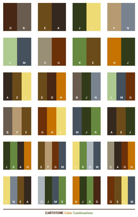 what colors are earth tones earth tone color schemes color combinations color palettes for print cmyk and web rgb html