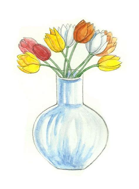 Drawing Of Flowers In Vase by How To Draw Flowers In A Vase Via Wikihow Drawing