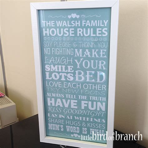 family house rules framed print family house rules framed print