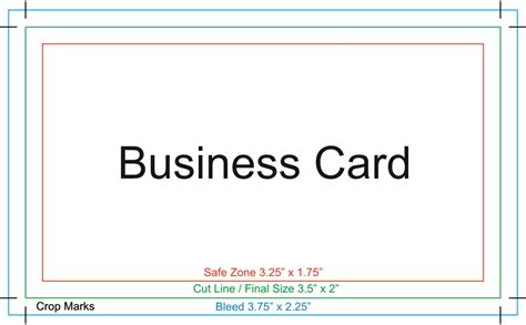 Biz Card Size Template by Proper Setup For Printing With Crops And Bleeds