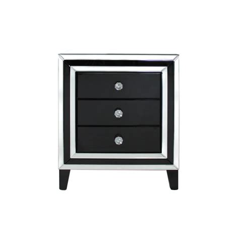 Bedside Drawers Black by Manhattan Black And Clear Mirror 3 Drawer Bedside Cabinet