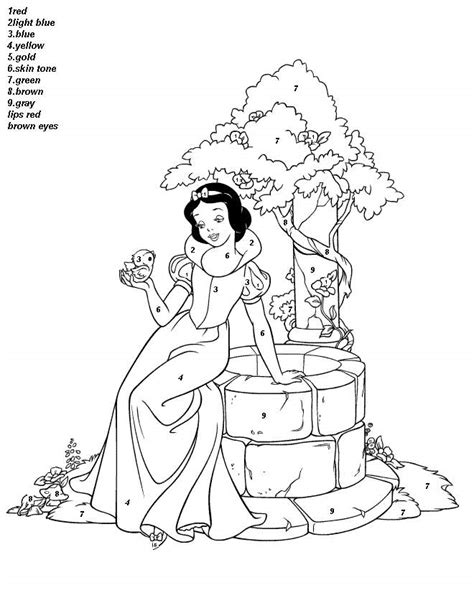 Color By Disney by Coloring Pages Beautiful Disney Princess Snow White Color