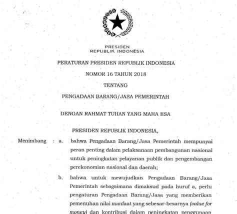Perpres No 35 Tentang Pengadaan Barang Dan Jasa Pemerintah perpres no 16 tahun 2018 tentang pengadaan barang dan jasa