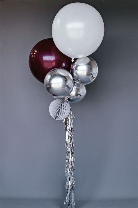 Rosita Silver Maroon 8 balloon set silver burgundy balloon sets new but i want the two large balloons to be in